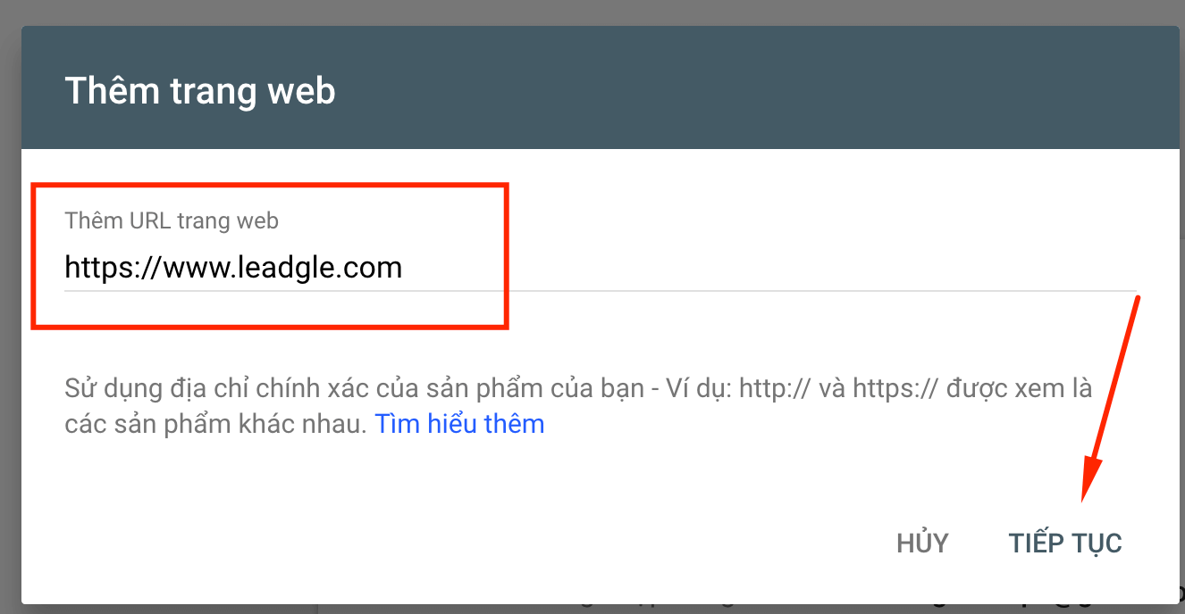 Nhập Website vào Google Search Console