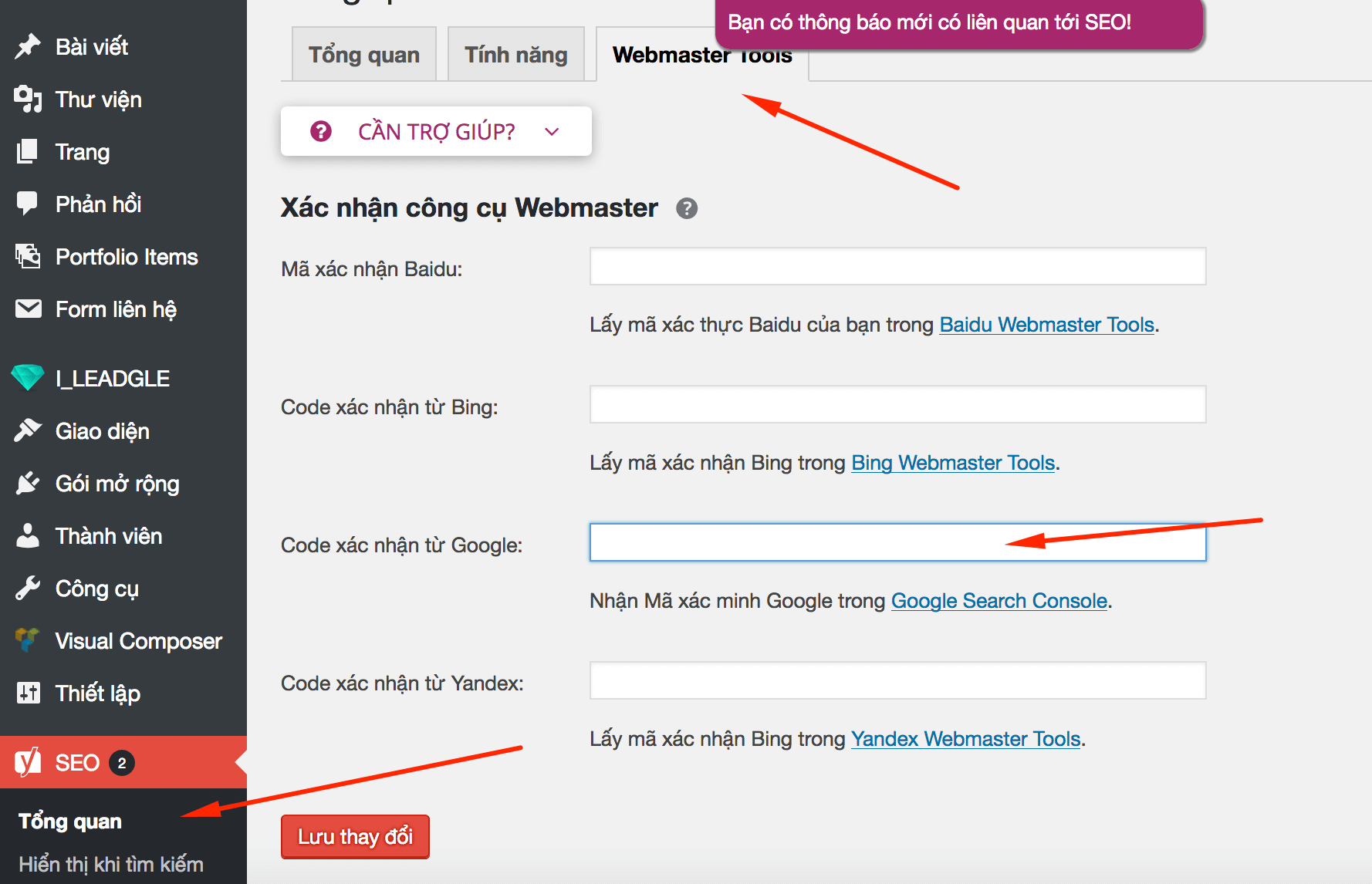 Xác minh Google Search Console cho WordPress